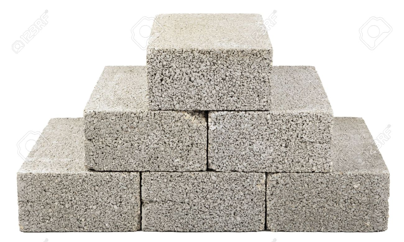Six Gray Concrete Construction Blocks (a.k.a. Cinder Block, Breeze Block,  Cement Block,