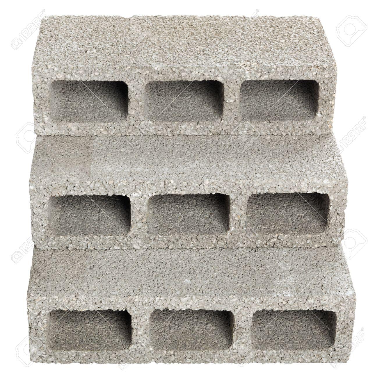 Attractive Three Gray Concrete Construction Blocks (a.k.a. Cinder Block, Breeze Block,  Cement Block,