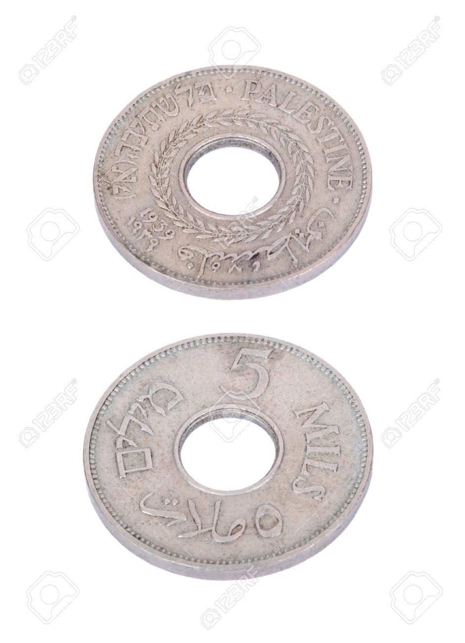 Beide Seiten A Vintage Münze Aus Pre Israel Palästina 1940