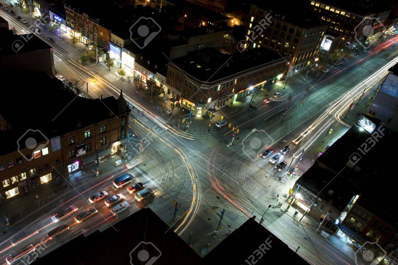 Midnight traffic as seen from rooftop reverse Stock Photo - 1954165