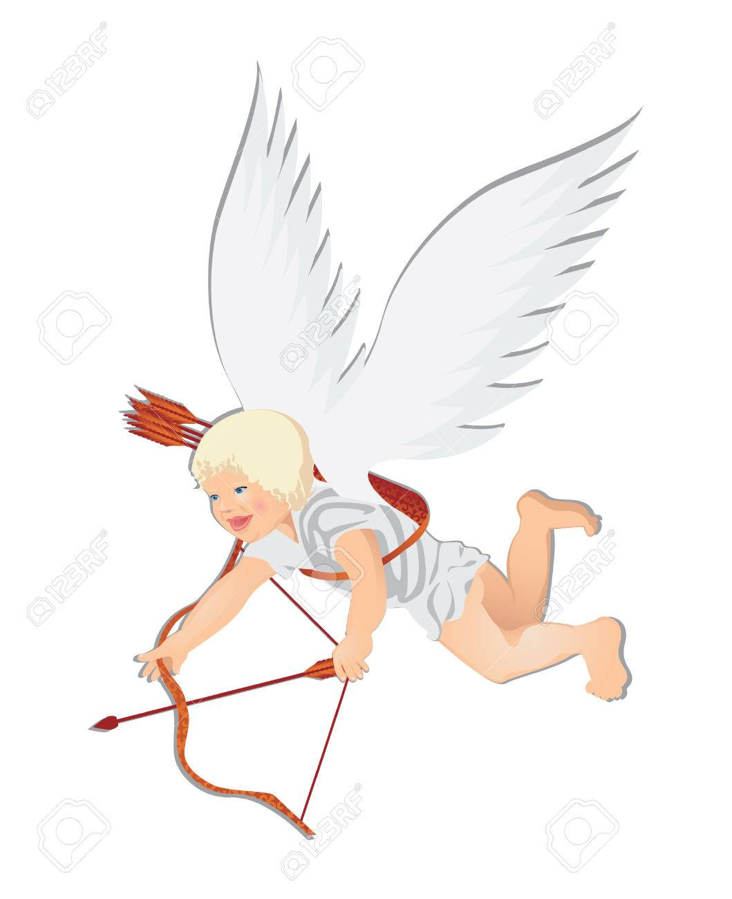 valentine cupid vector illustration of a flying cupid with arrows