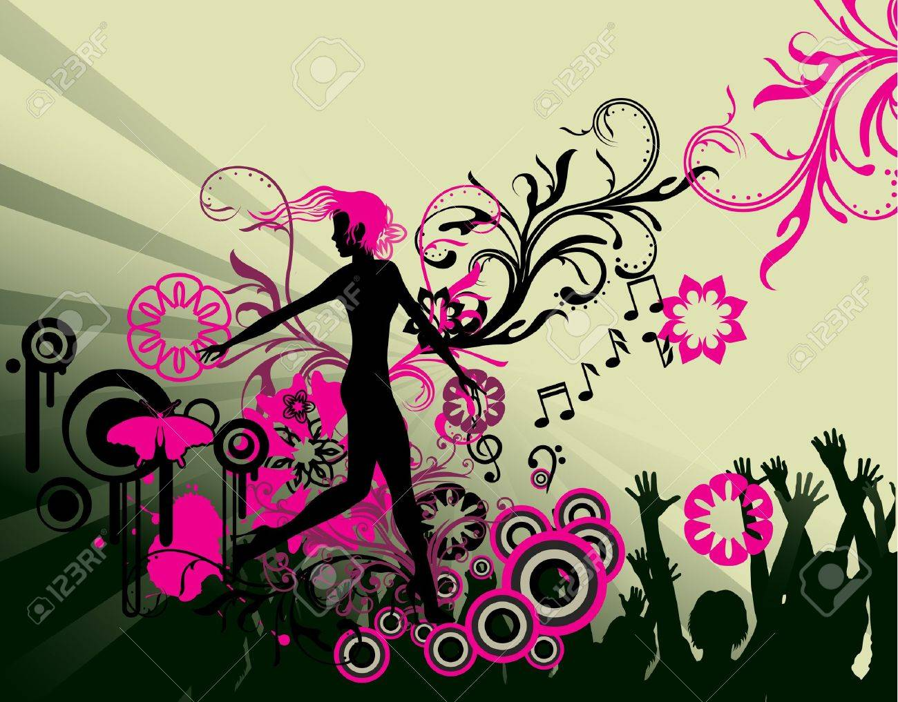 abstract dance party poster Stock Vector - 7454095