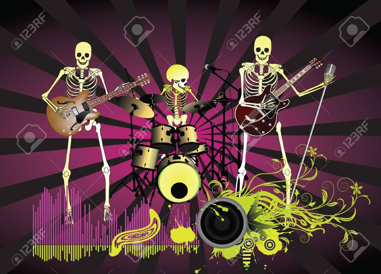 Music poster;Skeleton Stock Vector - 7462559