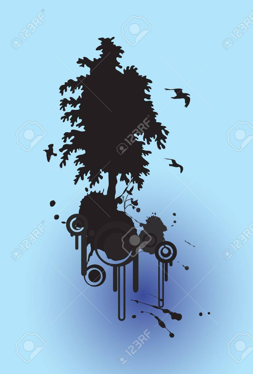 abstract floral tree silhouette background and birds flying, with place for your text Stock Vector - 7462518