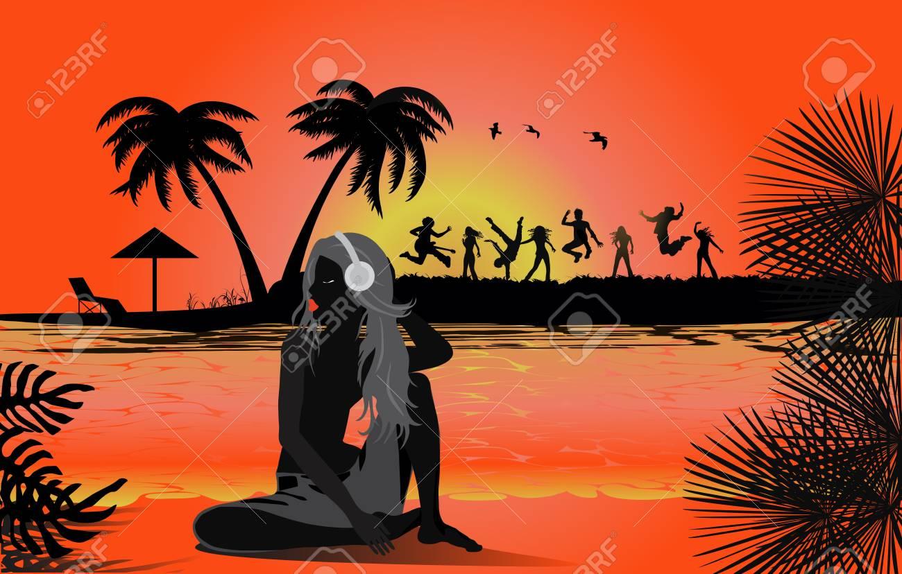 Tropical beach sunset Stock Vector - 15082878
