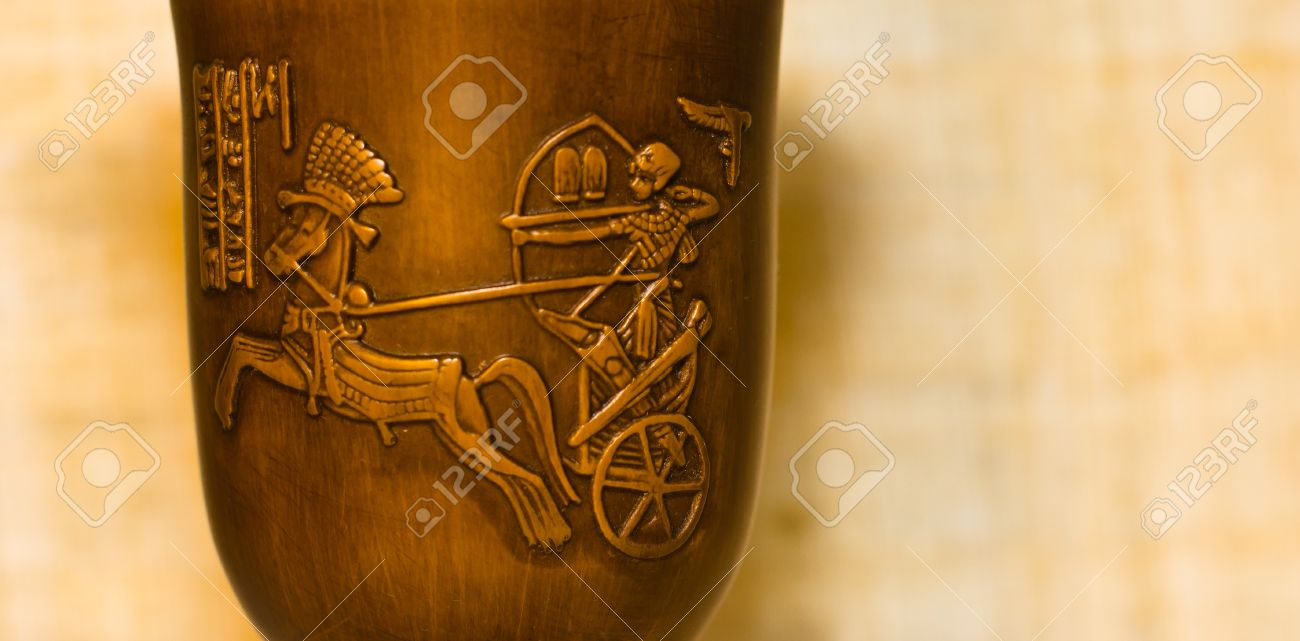 Wooden egyptian cup, with a representation of Ramses the Warrior