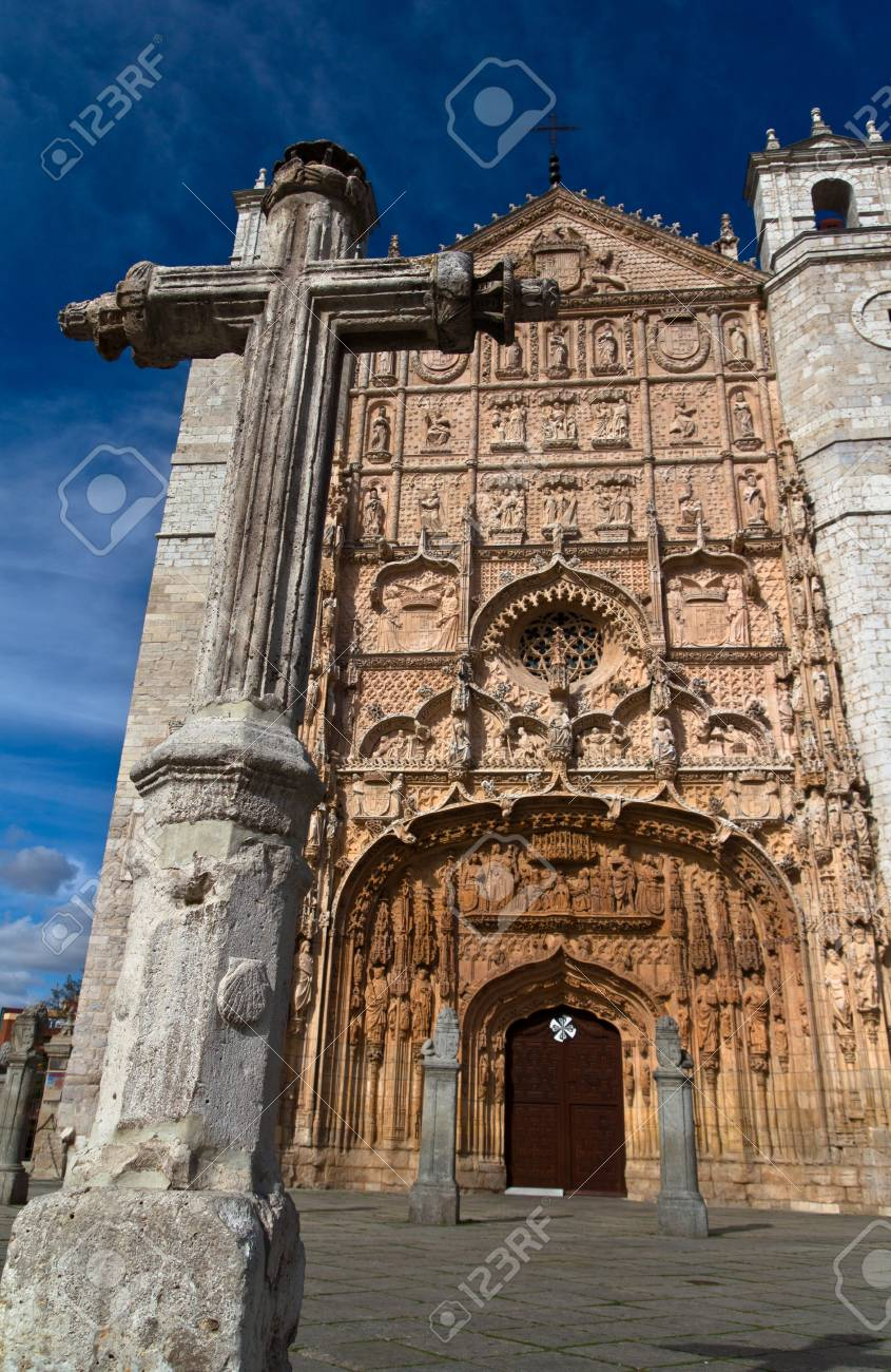 Low angle view of the facade of  Saint Paul church and its cross in Valladolid with blue sky, Spain. Stock Photo - 13286458