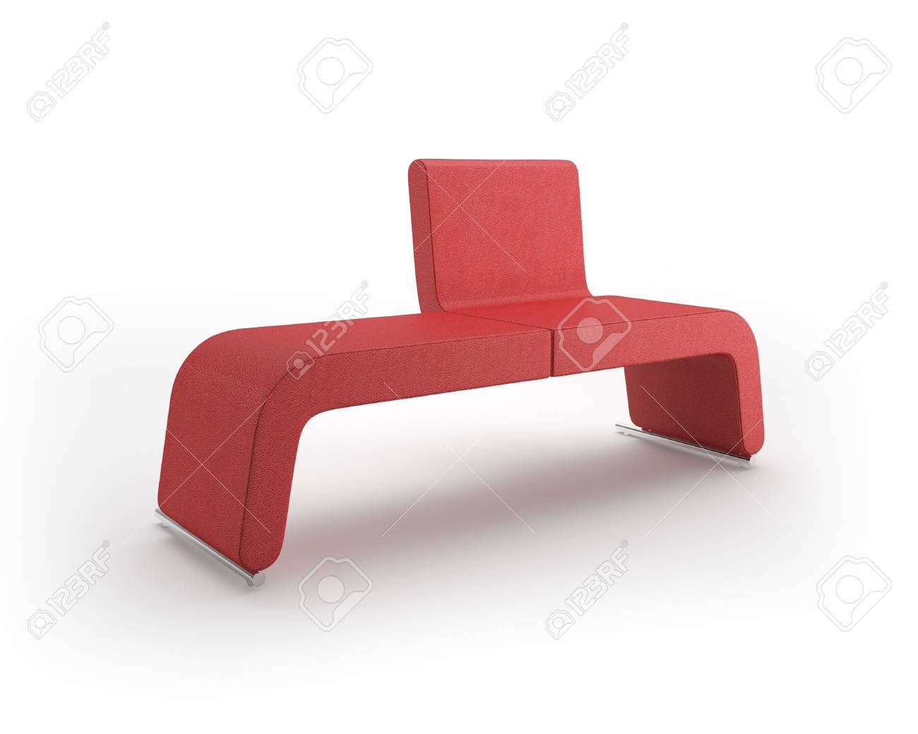 Modern Leather Bench on White Background Stock Photo - 9937128