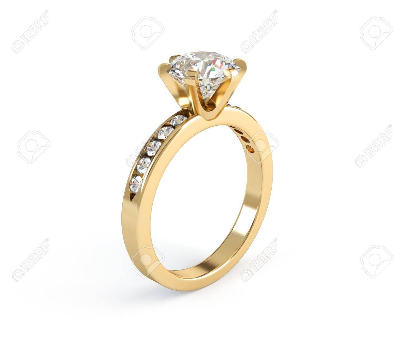Wedding gold diamond ring isolated on white background Stock Photo - 10652476