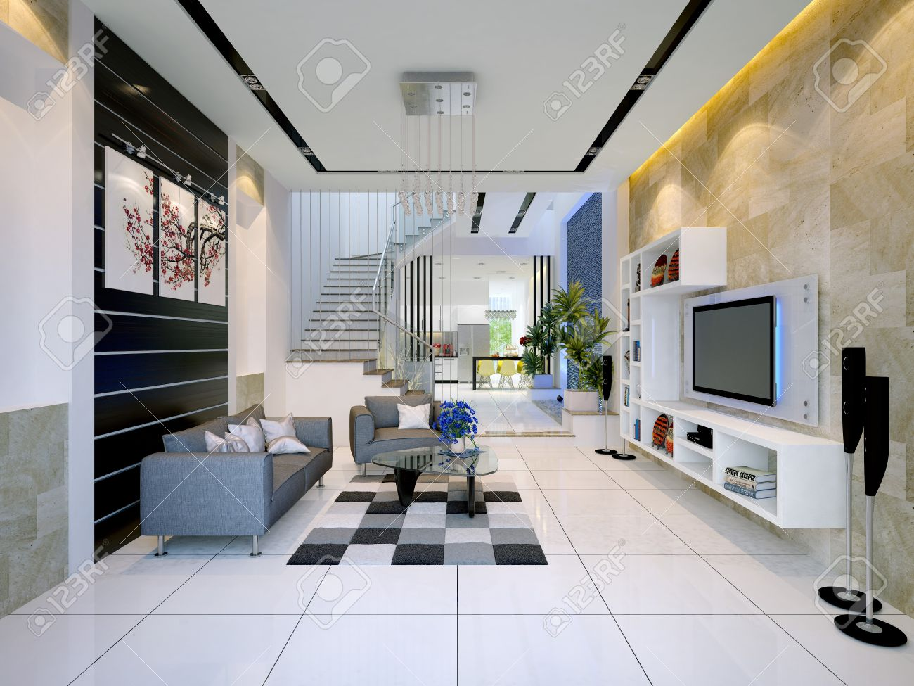 Interieur Maison Modern : Interior of a modern house with living room and dining stock photo