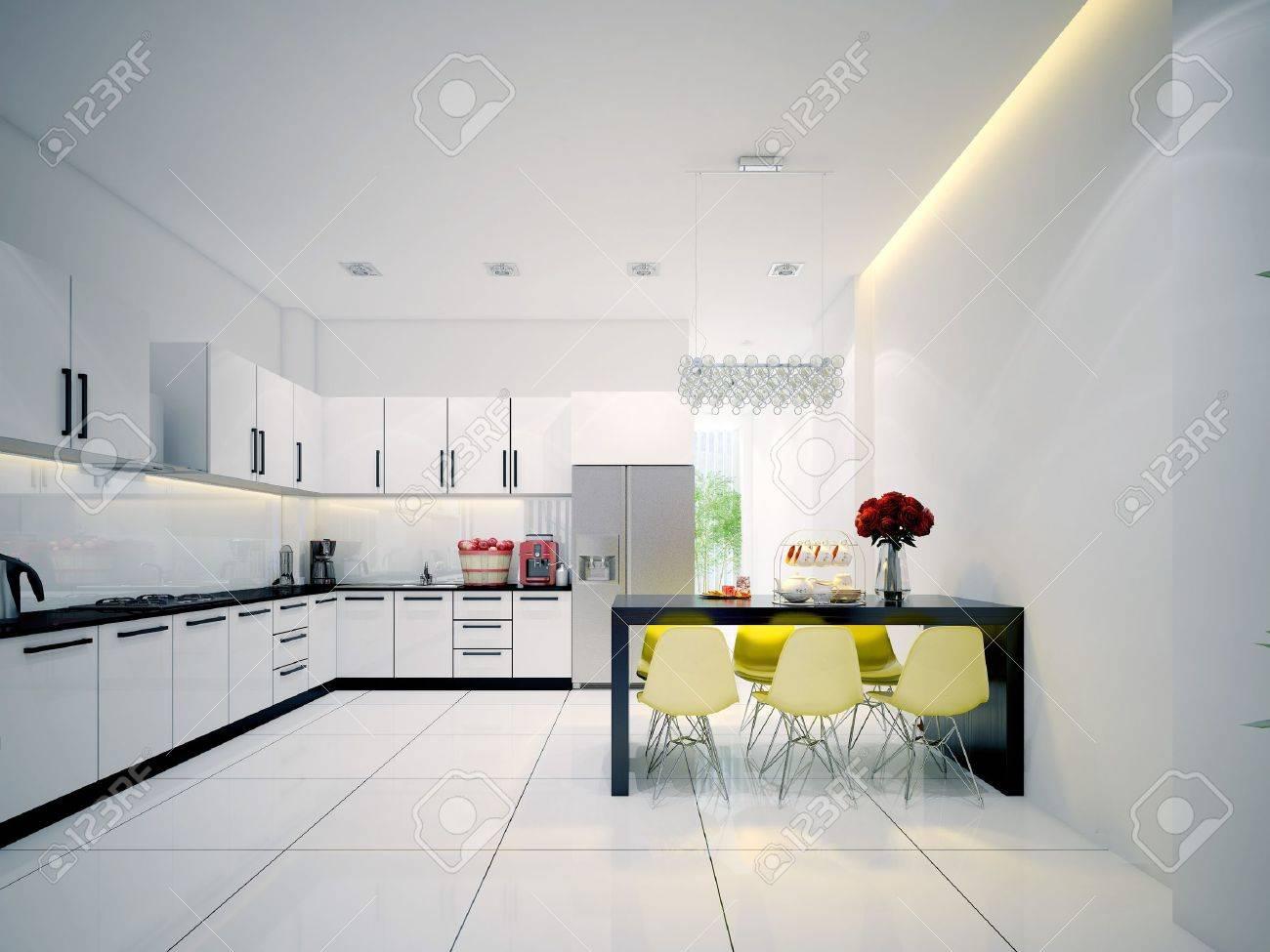 Cuisine Moderne Avec Salle à Manger Contemporaine Blanche Banque D ...