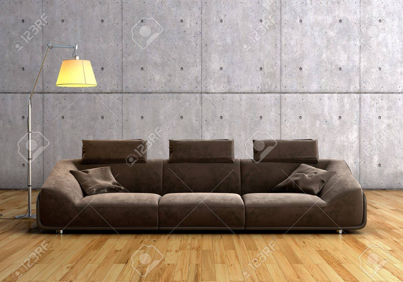 A Modern Brown Sofa And Lamp Against Concrete Background On.. Stock ...