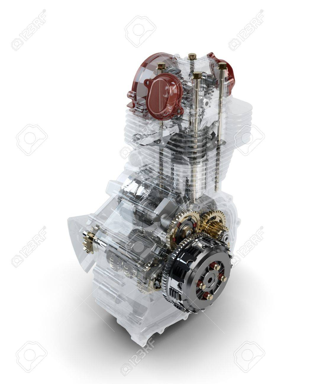 Assembled motorcycle performance engine in transparent case isolated on white Stock Photo - 16355550