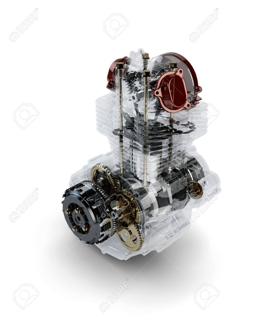 Assembled motorcycle performance engine in transparent case isolated on white Stock Photo - 16355543