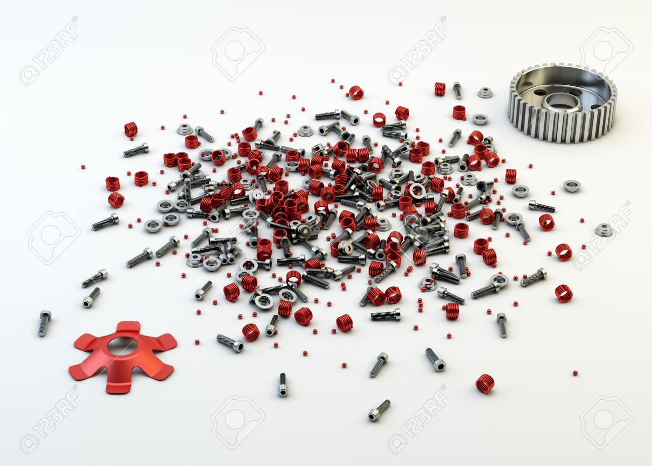 Pile of nuts and bolts from disassembled clutch isolated on white Stock Photo - 20776940