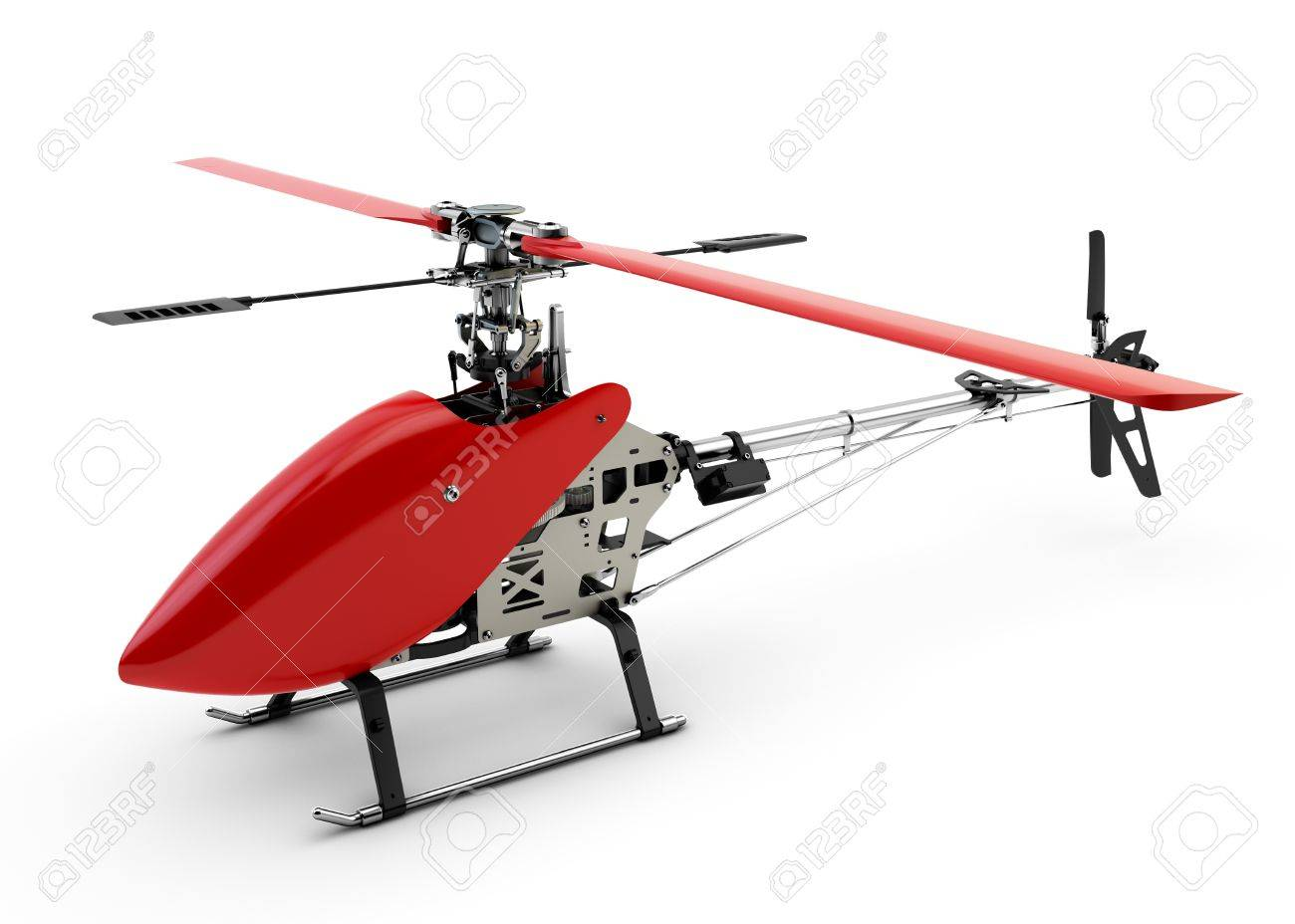 Generic red remote controlled helicopter isolated on white background Stock Photo - 21121895