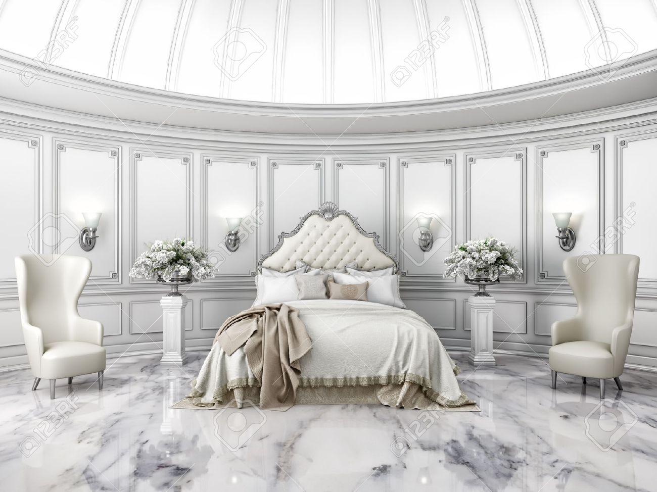 Intérieur d\u0027un style classique chambre ronde dans une villa de luxe