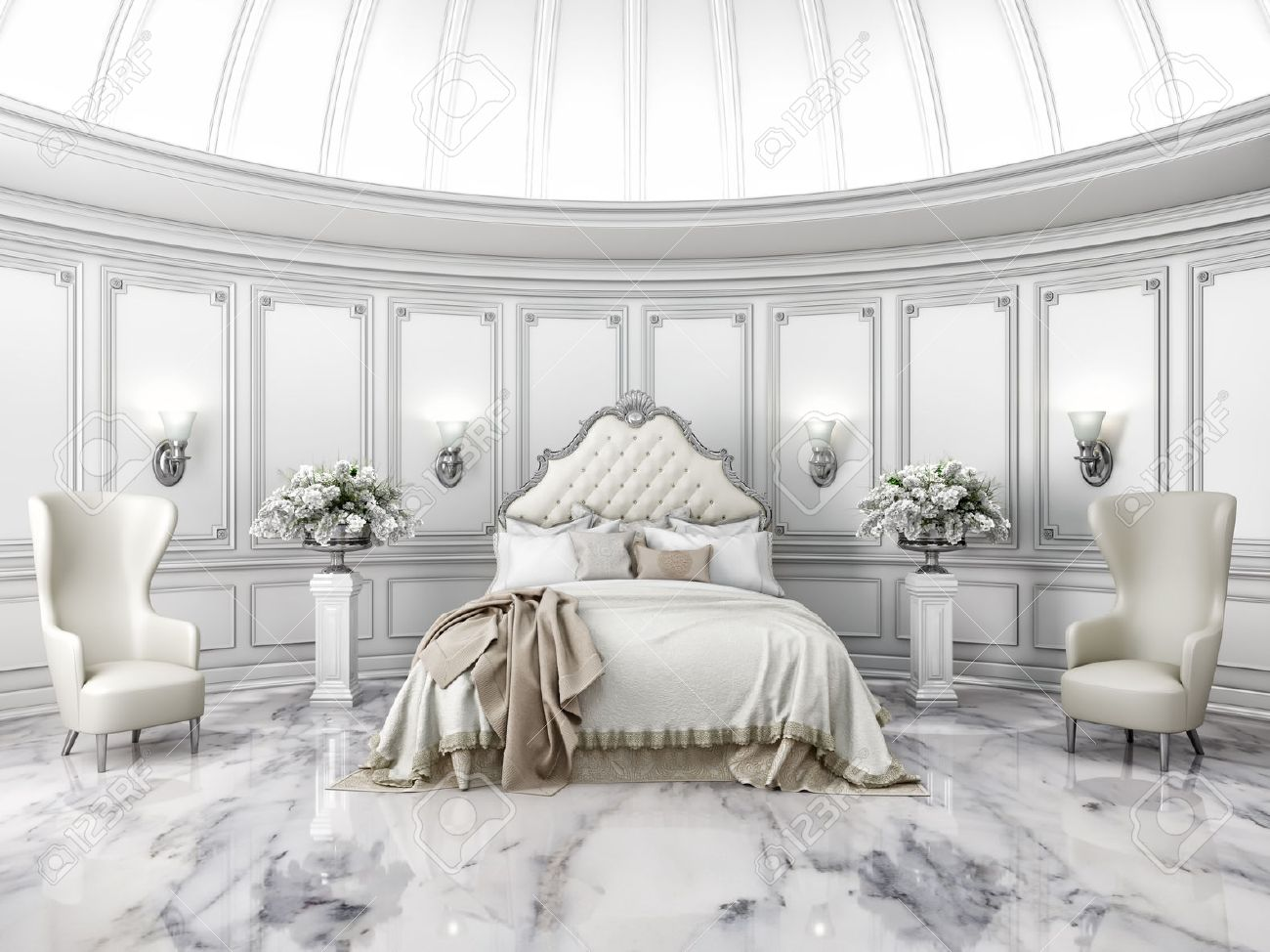 interior of a classic style round bedroom in luxury villa stock rh 123rf com
