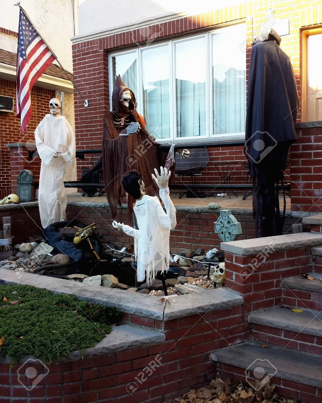 halloween yard decorations ghosts and skeletons stock photo 84202904