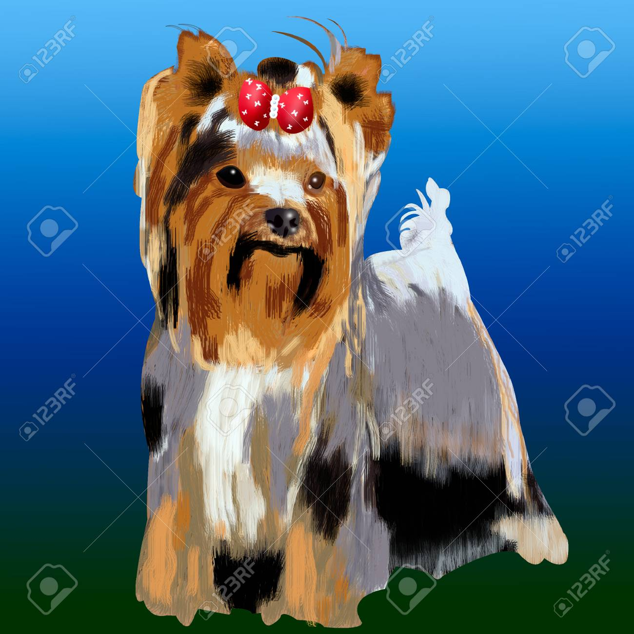 Small Dog A Yorkshire Terrier Illustration Of Isolated Cute Stock