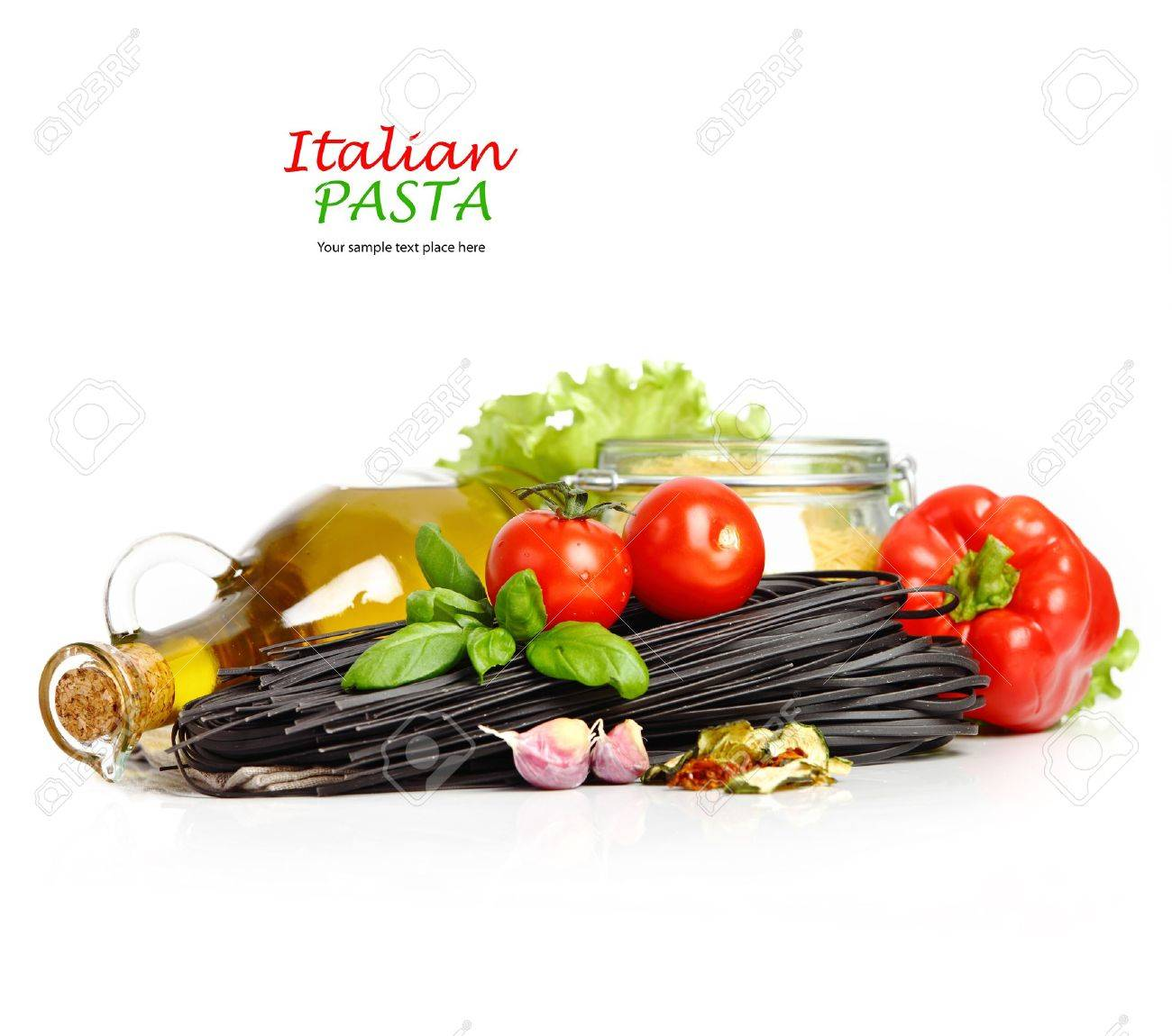 Black pasta with tomatoes isolated in white Stock Photo - 16953895