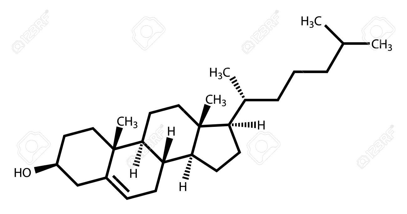 Cholesterol Structural Formula On A White Background Royalty Free