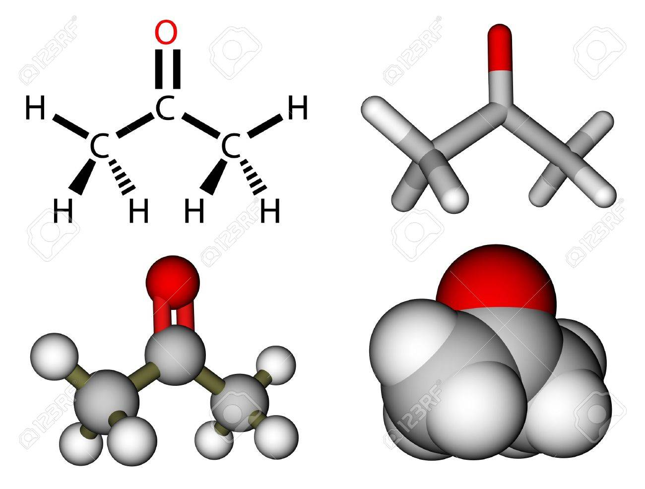 Acetone Structural Formula And Molecular Models Stock Photo ...