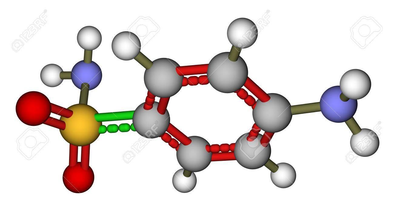 Antibiotic sulfanilamide molecular model Stock Photo - 12416443