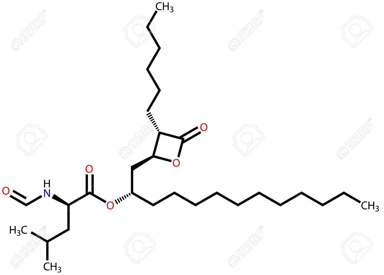Orlistat (obesity treatment drug) structural formula Stock Vector - 13005649
