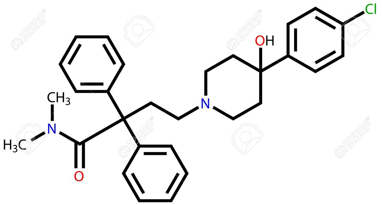 Loperamide, a diarrhea drug  Structural formula Stock Vector - 14552900