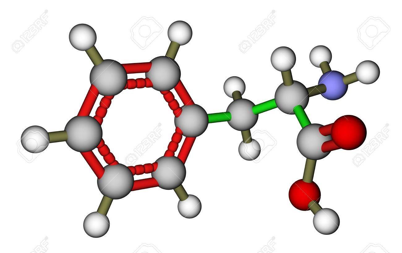 Essential amino acid phenylalanine 3D molecular structure Stock Photo - 14587687