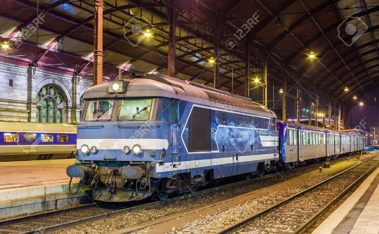Local diesed train at Strasbourg station  Alsace, France Stock Photo - 16232917