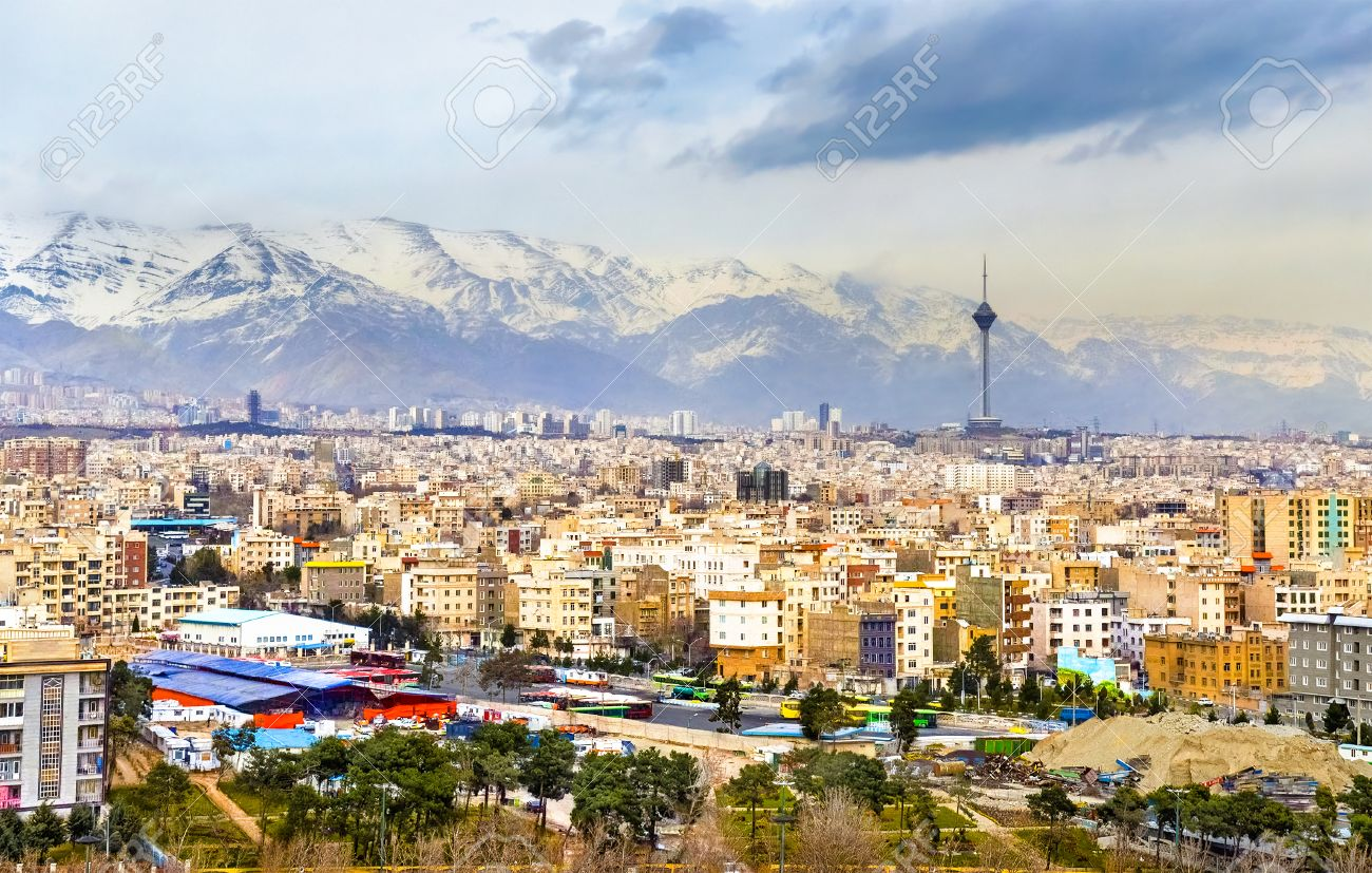 View Of Tehran From The Azadi Tower - Iran Stock Photo, Picture ...