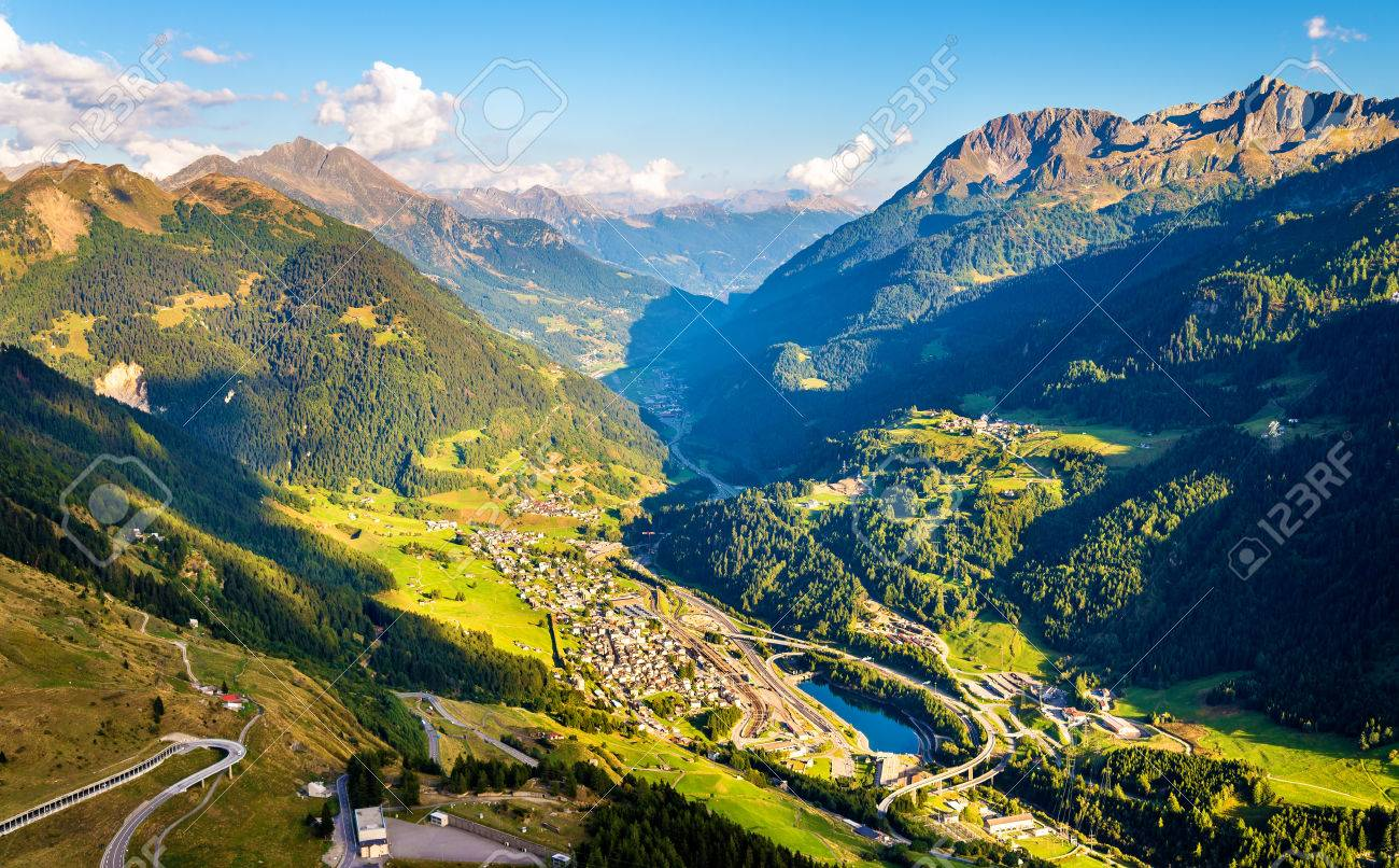View of Airolo village from the Gotthard Pass - Switzerland - 66372628