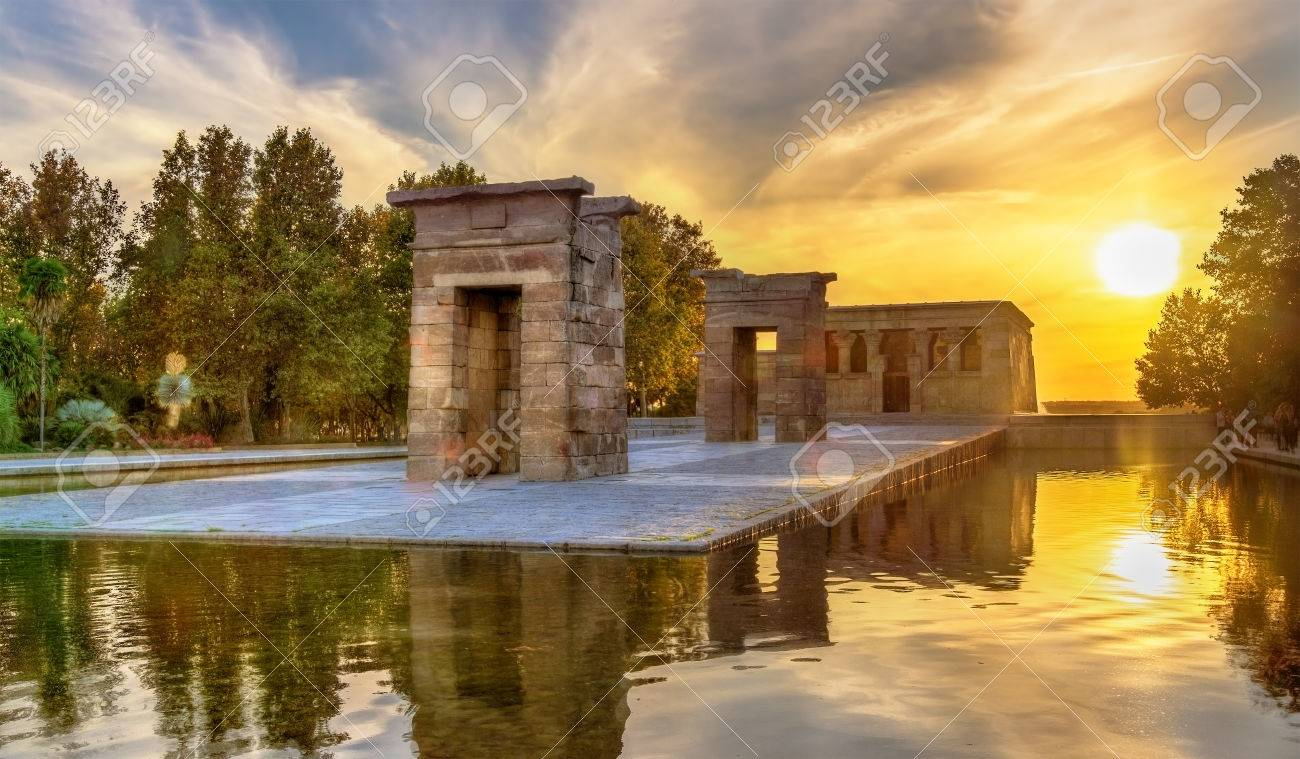 Sunset over the The Temple of Debod in Madrid - Spain - 66645973