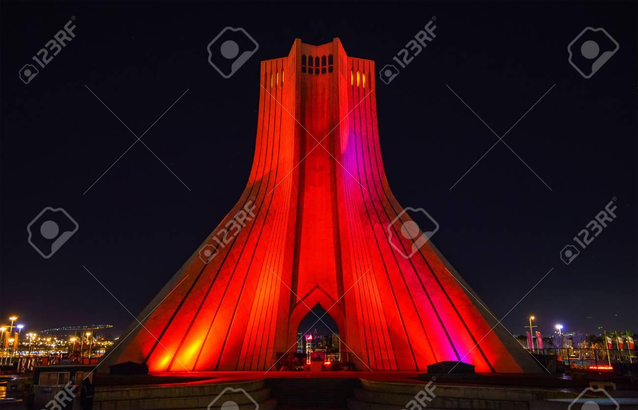 Night View Of The Azadi Tower In Tehran   Iran Stock Photo   84968137
