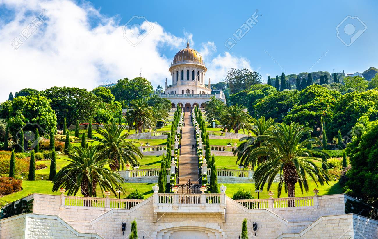Shrine of the Bab and lower terraces at the Bahai World Center in Haifa, Israel - 84941573