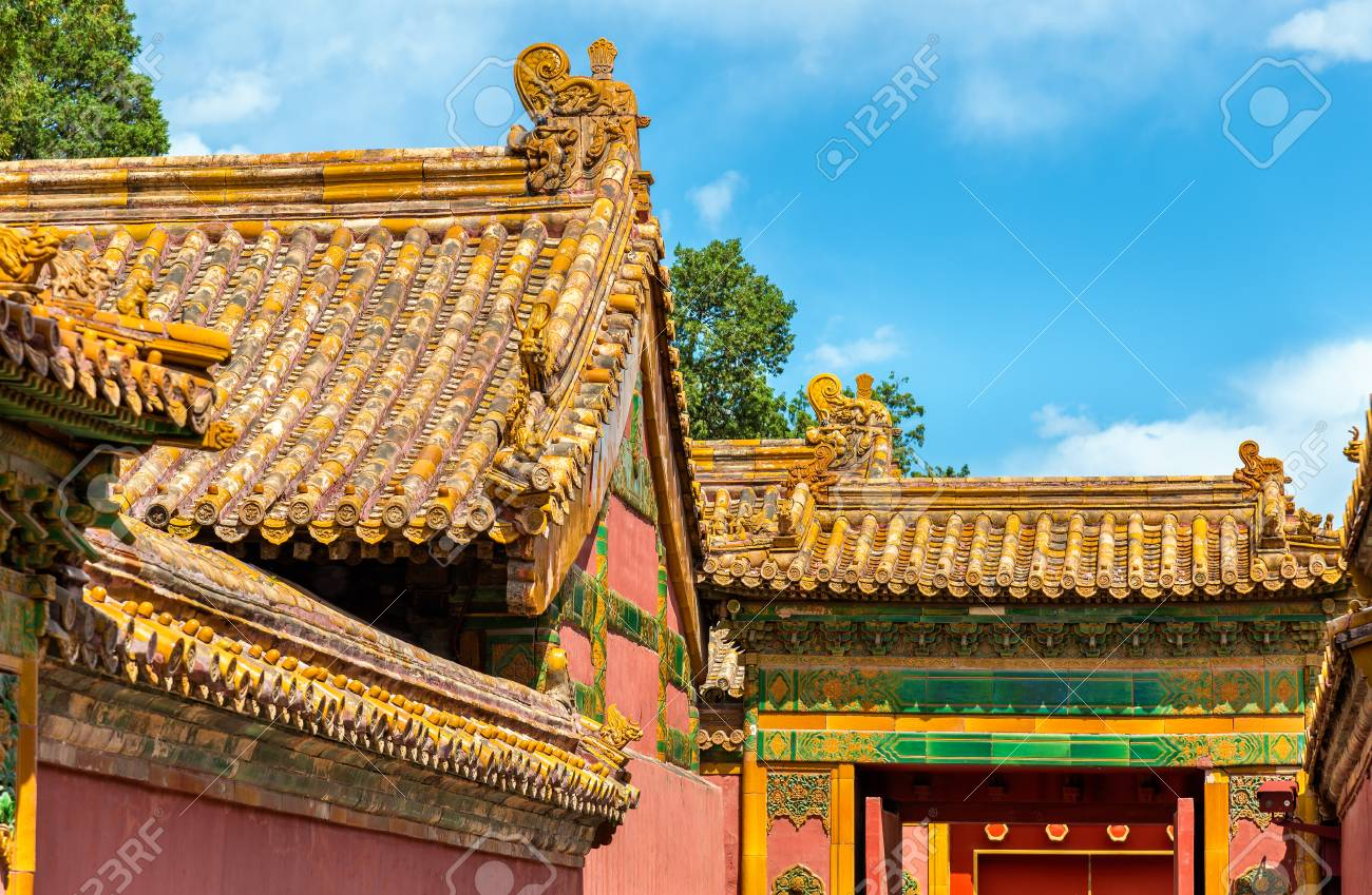 roof decorations in the forbidden city beijing china stock photo