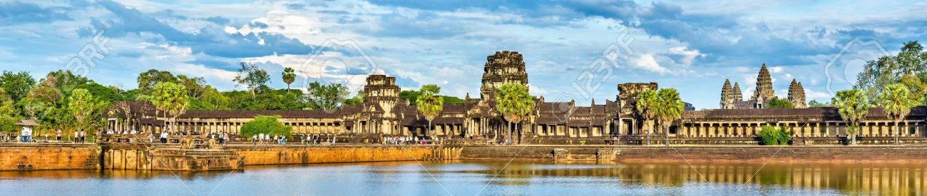 Panorama of Angkor Wat across the moat. A UNESCO world heritage site in Cambodia - 84969662