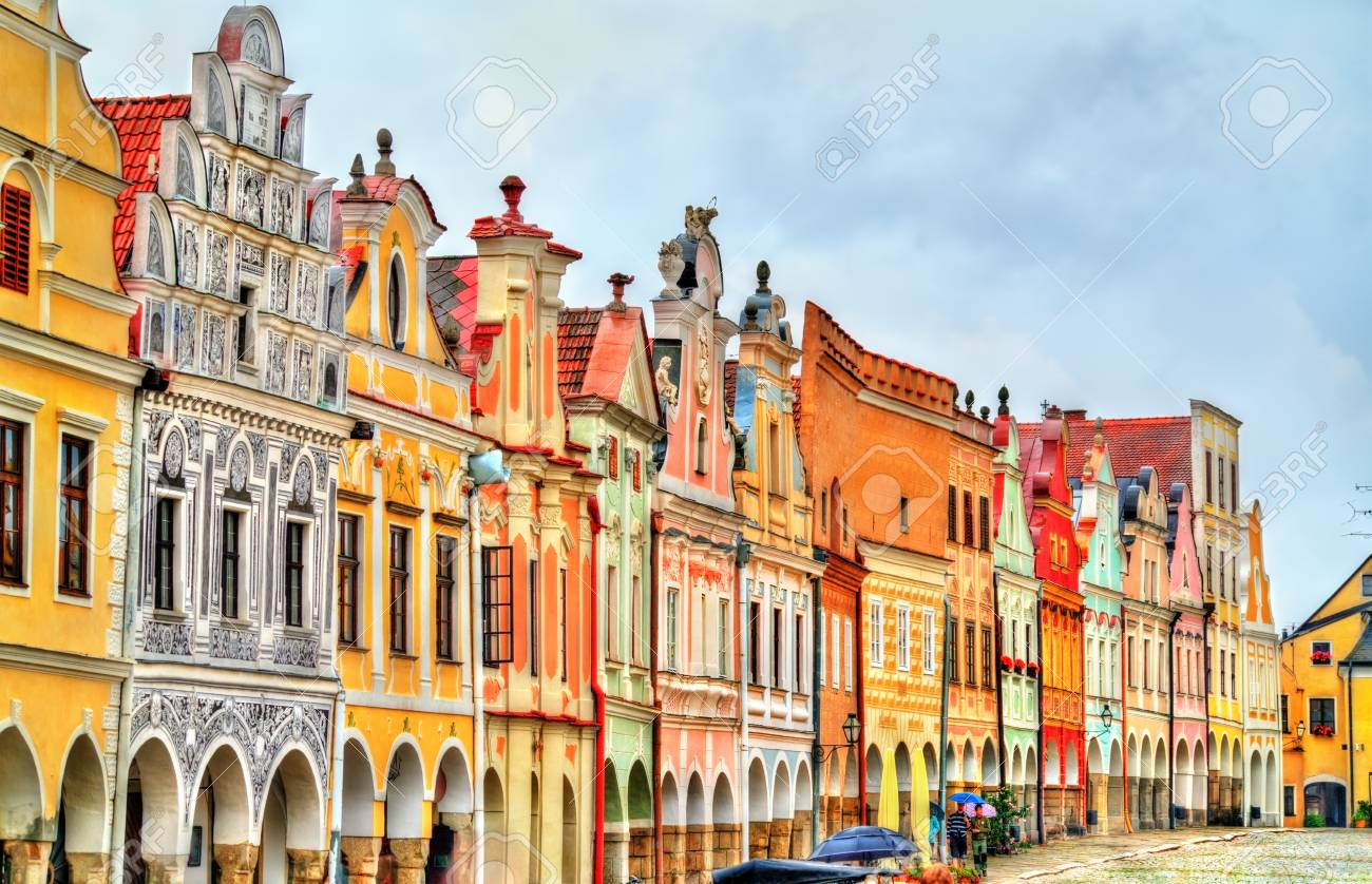Traditional houses on the main square of Telc, Czech Republic - 85434905