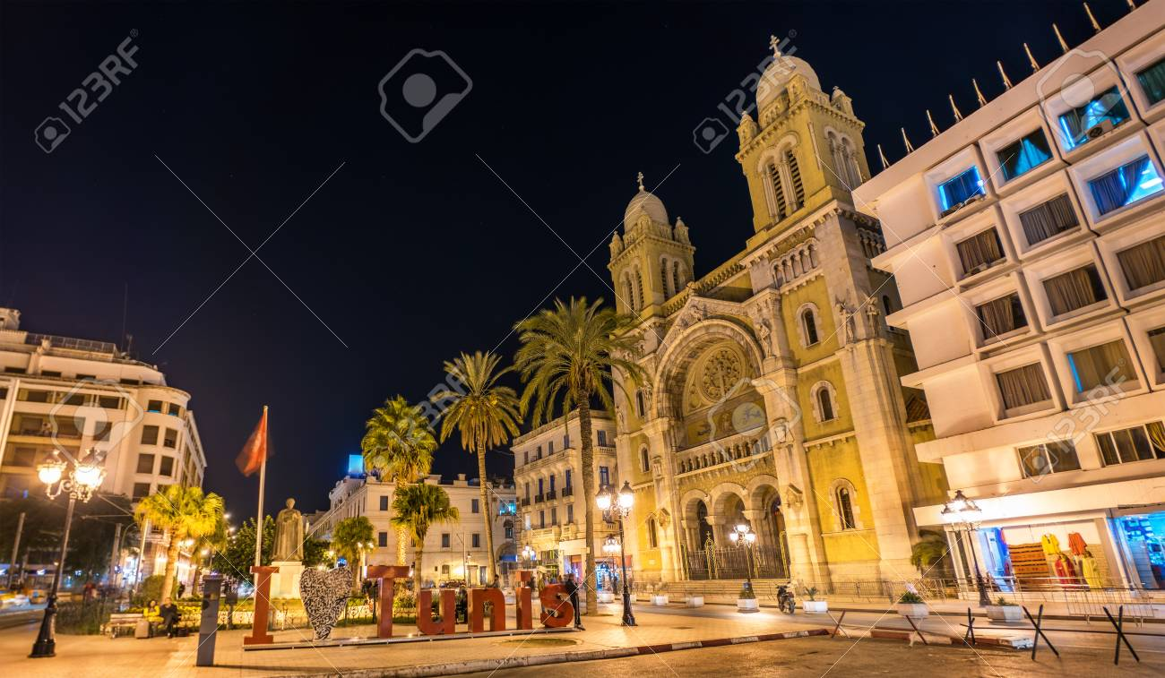 The Cathedral of St. Vincent de Paul in Tunis, Tunisia - 91034726