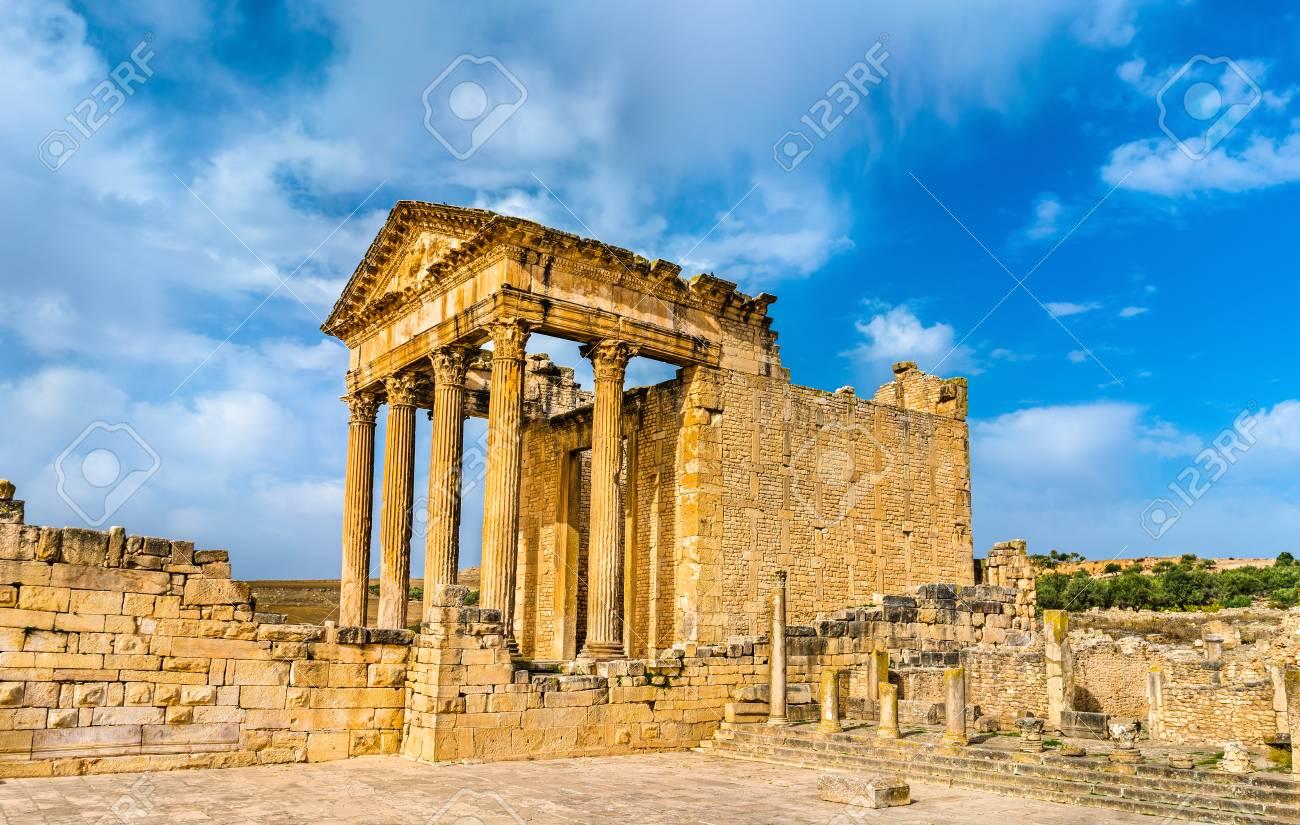 The Roman Capitol at Dougga. UNESCO heritage site in Tunisia - 93048029