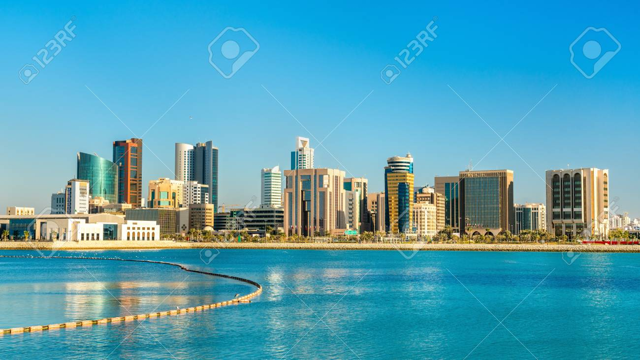 Skyline of Manama Central Business District. The Kingdom of Bahrain - 96714474