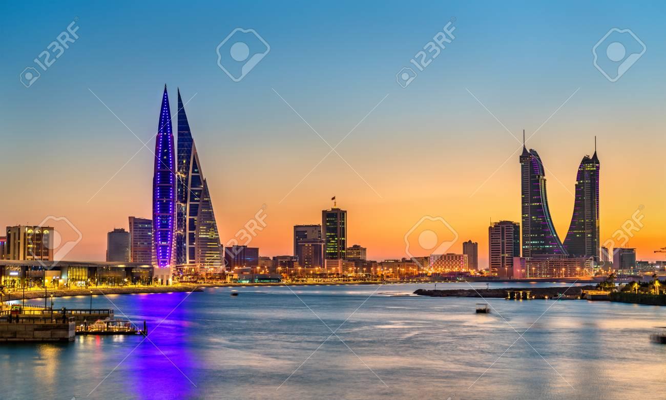 Skyline of Manama at sunset. The Kingdom of Bahrain - 96879454