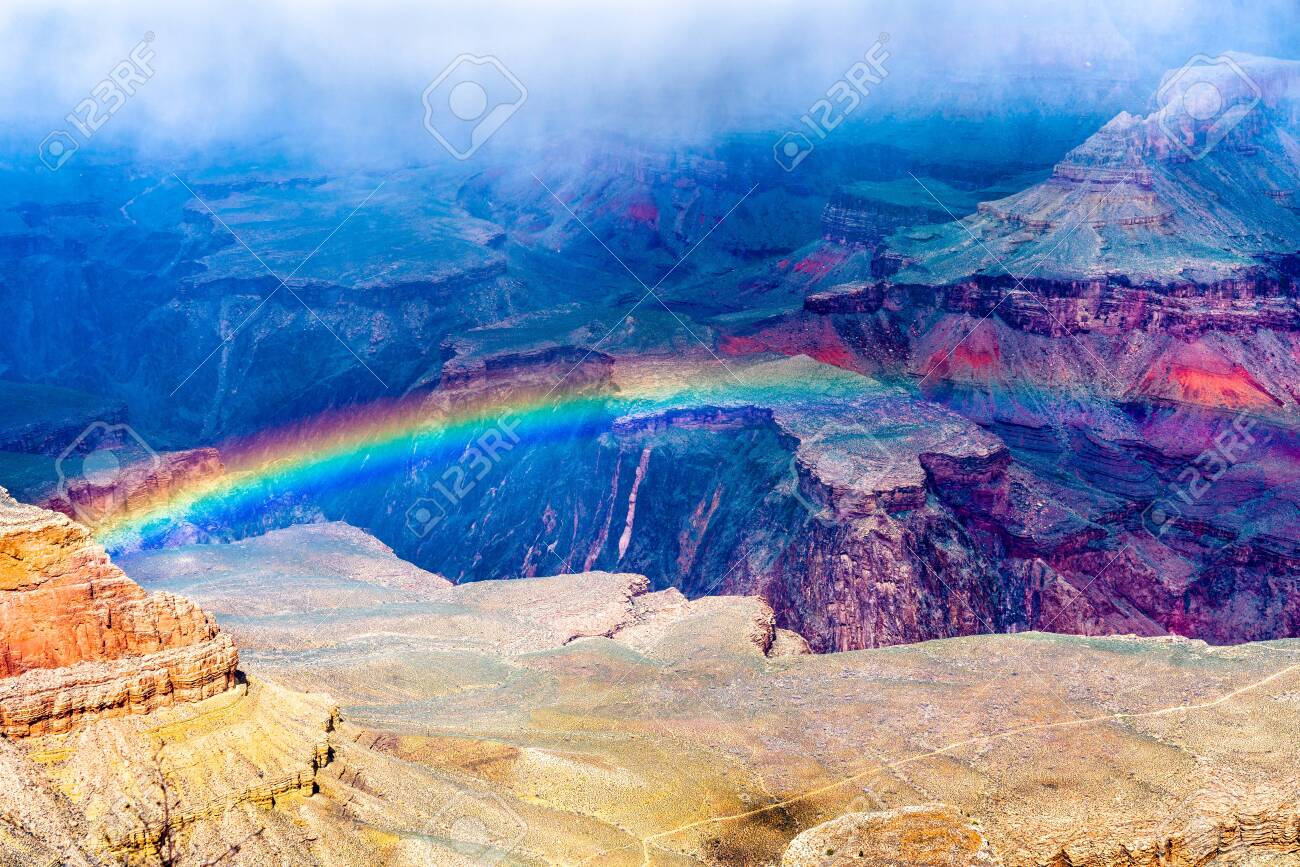 Rainbow over the Grand Canyon in Arizona, USA - 121642035