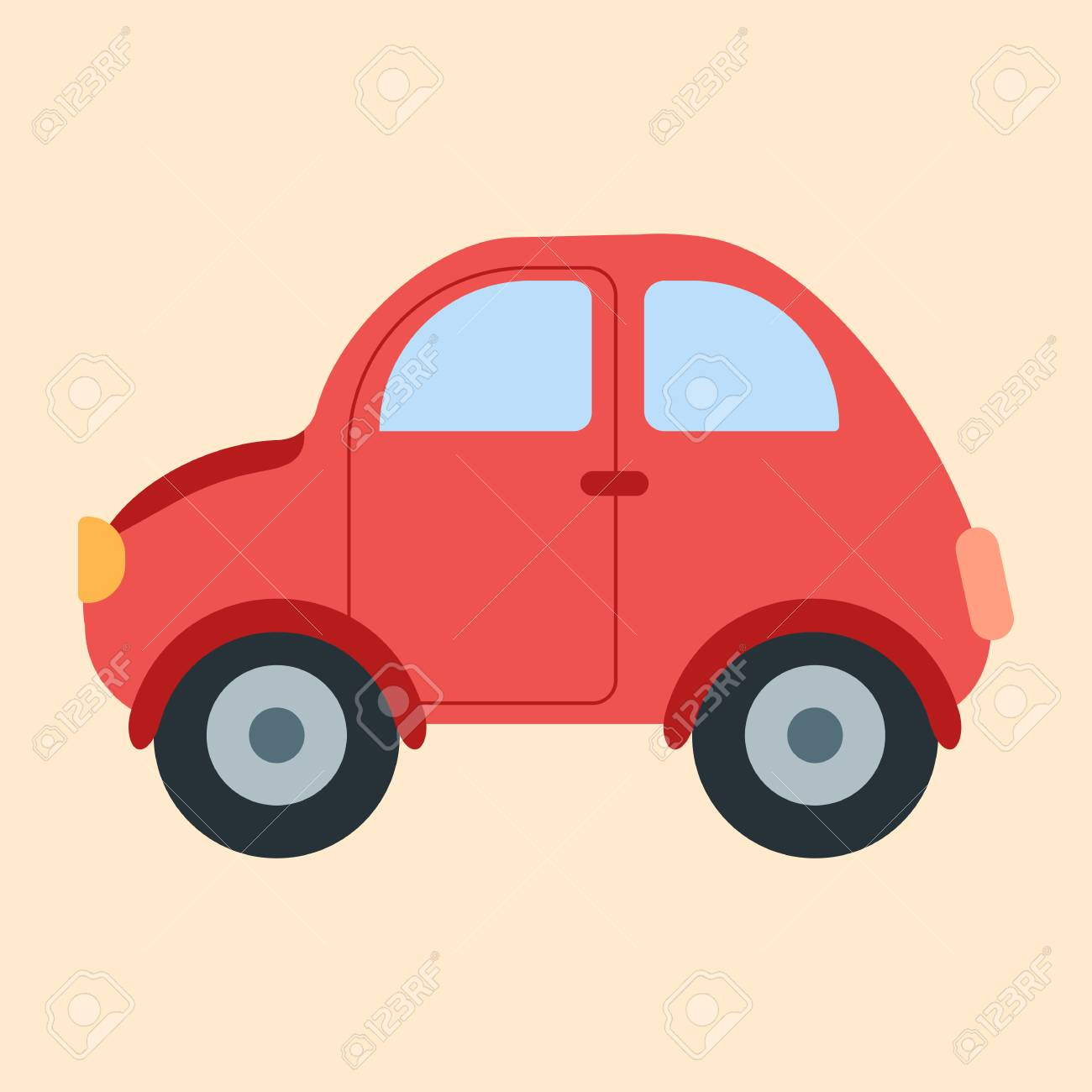 Little Red Car >> Little Cute Red Car Icon Flat Style Image