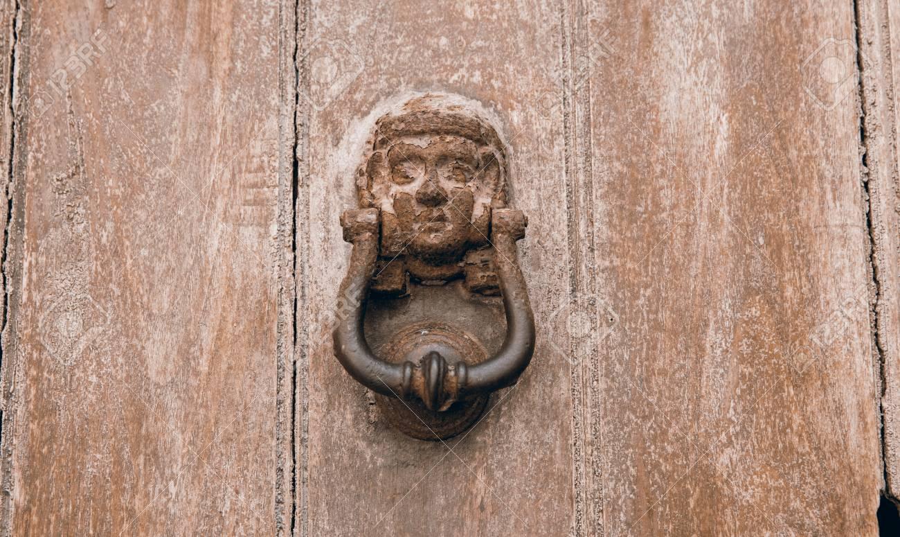 Old Rustic Door Knocker On An Old Wooden Door Stock Photo   91707631