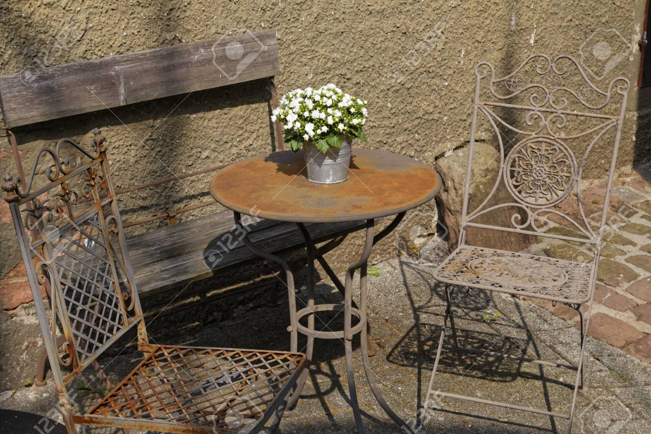Vintage Garden Furniture Stock Photo, Picture And Royalty Free Image ...