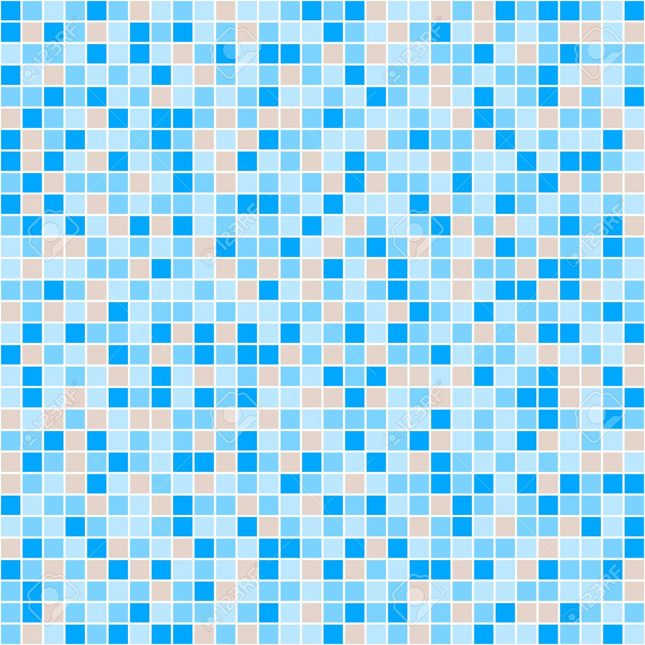Blue And Beige Ceramic Tile Mosaic In Swimming Pool. Vector Seamless ...