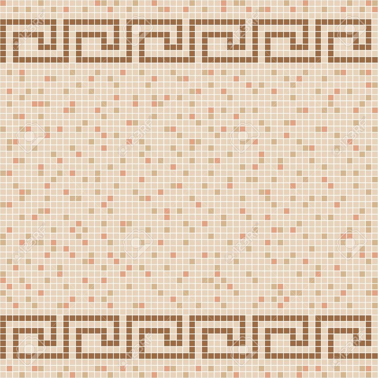 Mosaïque de carreaux de céramique beige. Modèle sans couture de vecteur.  Frontière grecque antique. Conception pour la couverture, textile, piscine,  ...